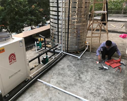 联通龙湾健身房空气能热泵工程案例